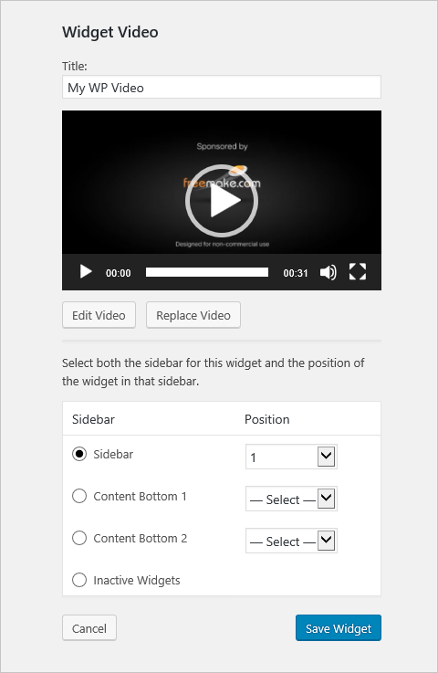 Embed Sidebar Video