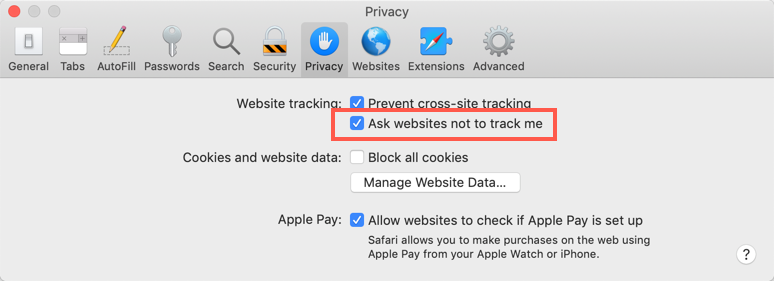 Enable Do Not Track in Safari Mac