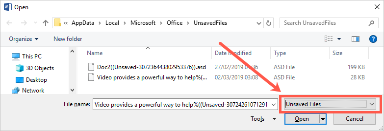 Unsaved files Option