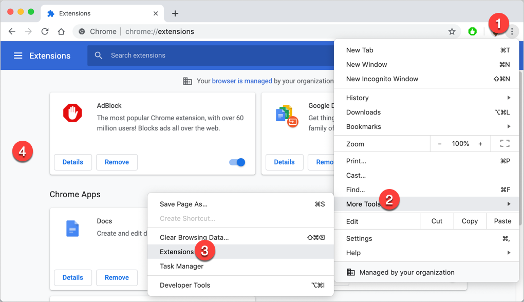 Access Chrome Extensions Page