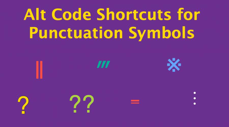 Alt Code Keyboard Shortcuts for Punctuation Symbols