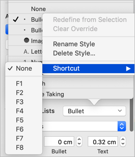 Assign Shortcut for Bullets in Mac Pages