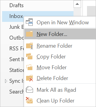 Create Folder for Emails in Outlook