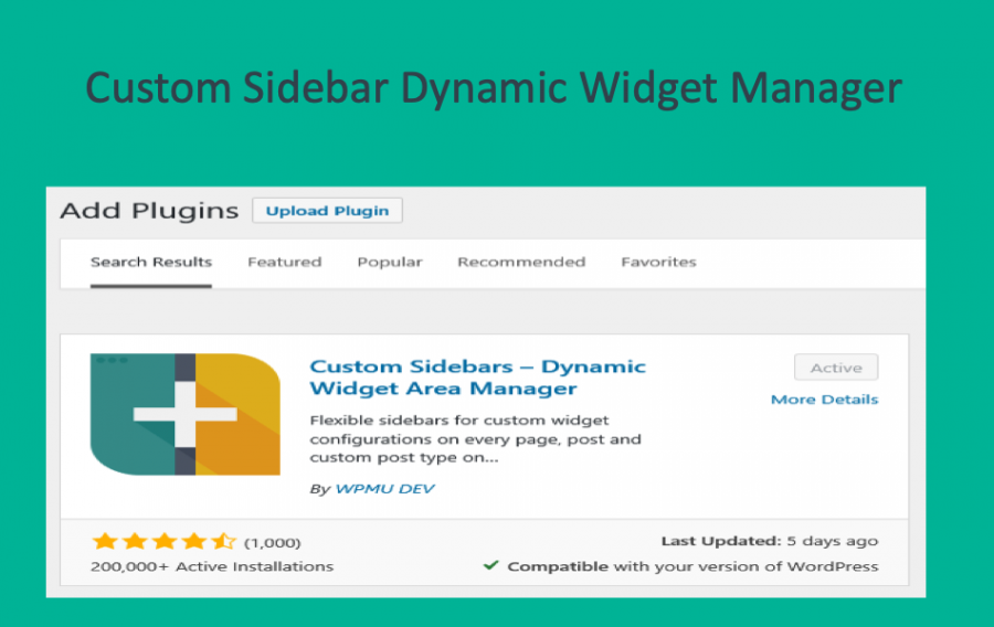 Custom Sidebar Dynamic Widget Manager