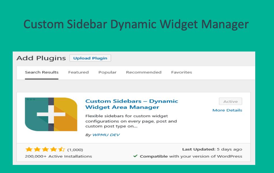 Custom Sidebar Dynamic Widget Manager