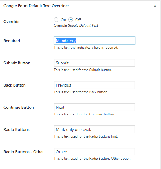 Customize Form Text