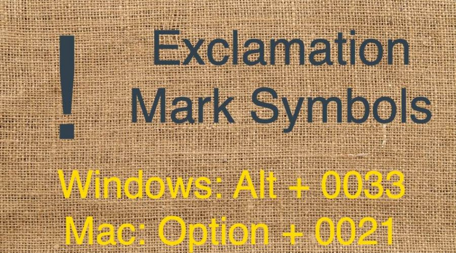 Keyboard Shortcuts for Exclamation Mark