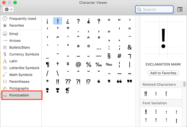Exclamation Mark in Mac Character Viewer