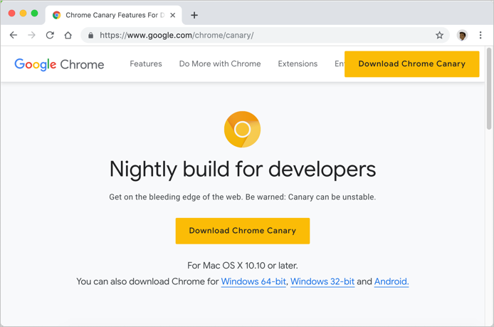 Google Chrome Canary Version