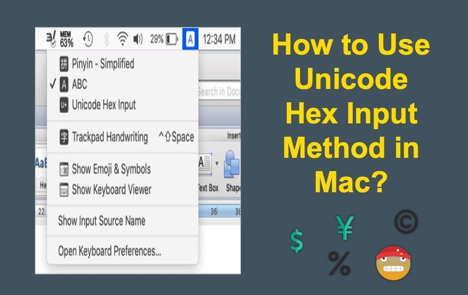 How to Use Unicode Hex Input Method in Mac?