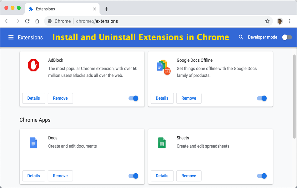 Install and Uninstall Extensions in Chrome