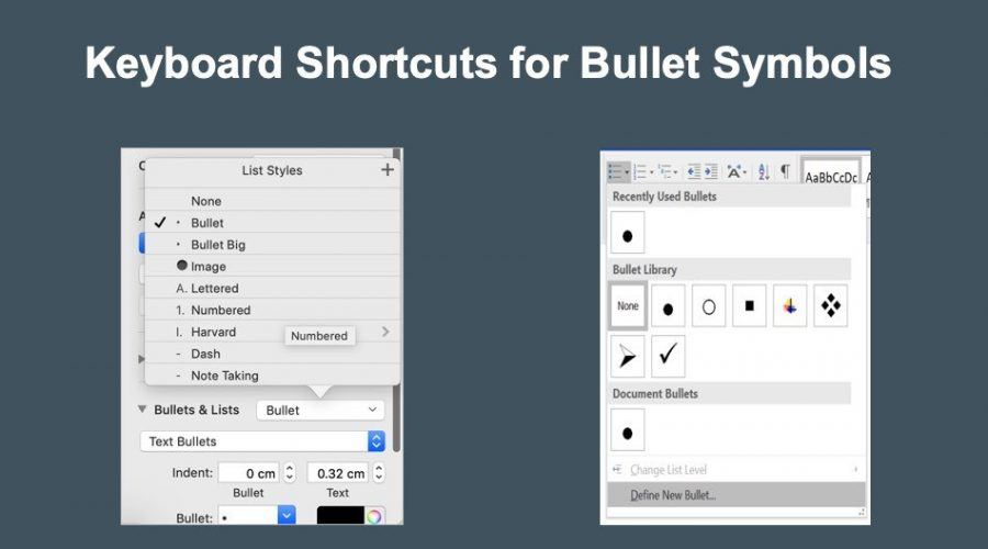 Keyboard Shortcuts to Insert Bullets in Windows and Mac