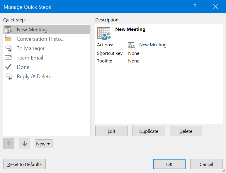 Manage Quick Steps in Outlook