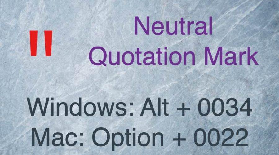 Keyboard Shortcuts for Quotation Mark Symbols