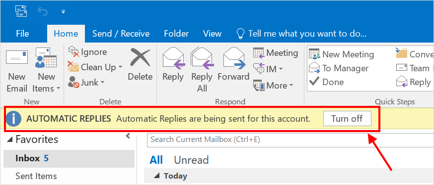Out Of Office Enabled in Outlook