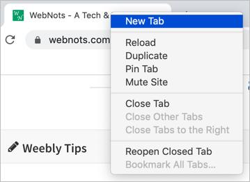 Right Click on Chrome Mac Tab