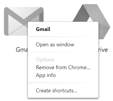 Right Click on Windows App Shortcuts