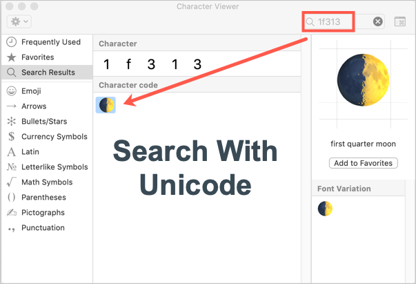 Search with Unicode Point