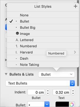 Select Bullet List in Pages
