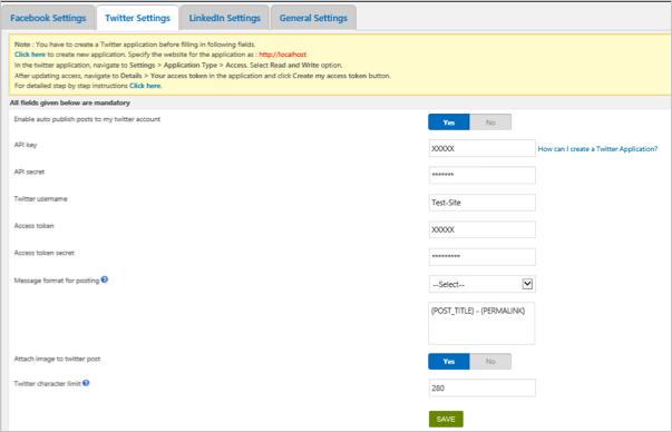 Twitter API Settings