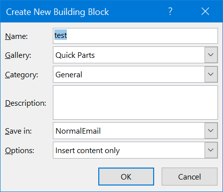 Using Quick Parts in Outlook