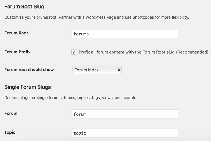 bbPress Forum Slug Settings