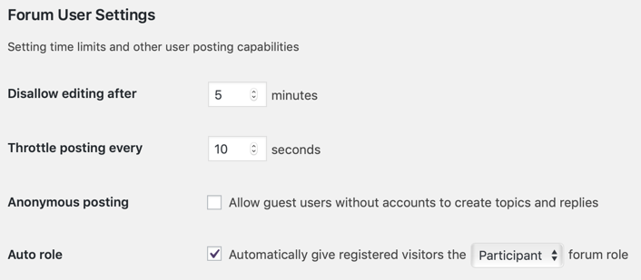 bbPress Forum User Settings