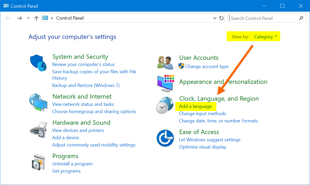 Adding Language in Windows 10