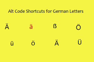 Alt Code Shortcuts for German Letters