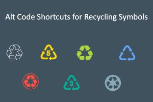 Alt Code Shortcuts for Recycling Symbols