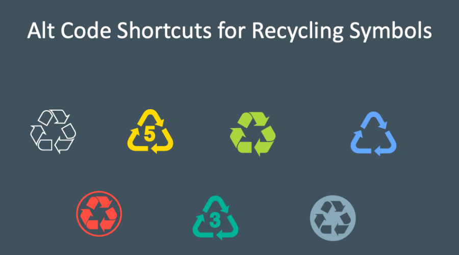 Alt Code Shortcuts for Recycling Symbols