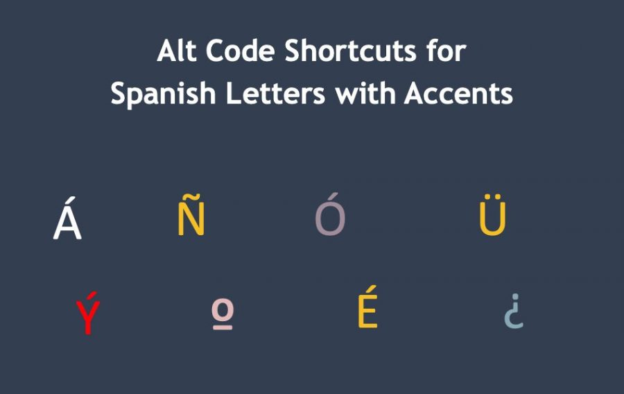 Alt Code Shortcuts for Spanish Letters with Accents