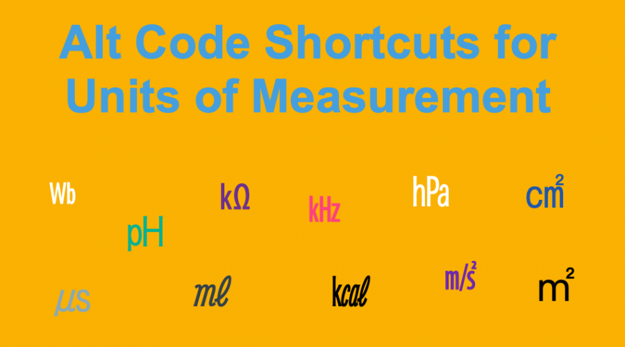 Alt Code Shortcuts for Units of Measurement