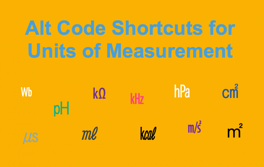 Alt Code Shortcuts for Units of Measurement