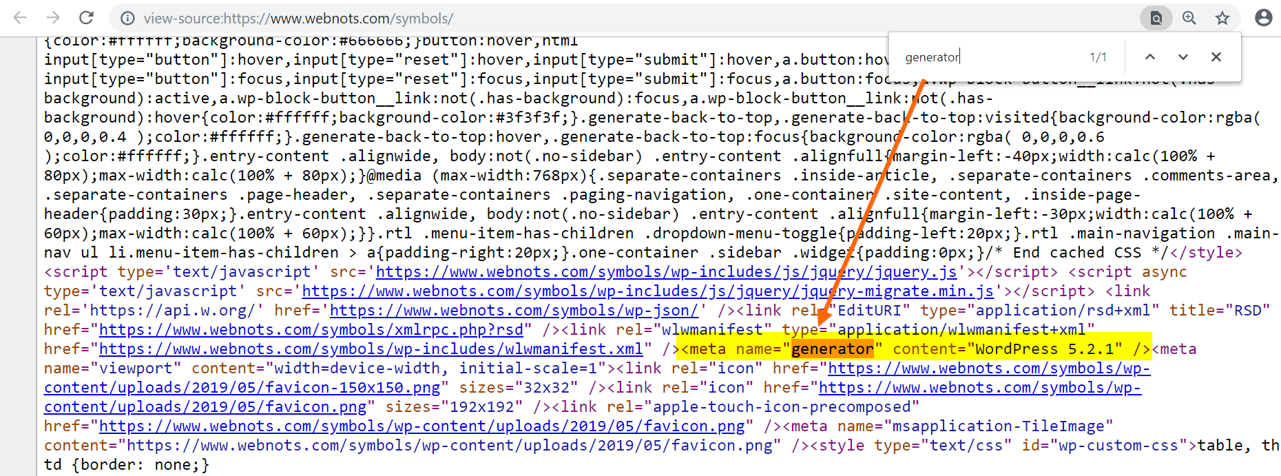Check Generator Meta Tag in WordPress