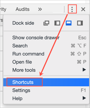 Chrome Developer Tools Shortcuts Menu