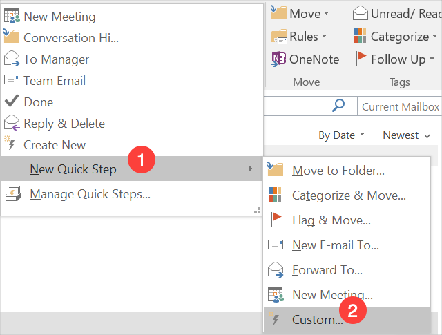 Creating Custom Quick Steps in Outlook
