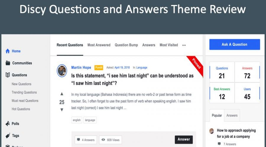 Discy WordPress Question and Answer Theme Review