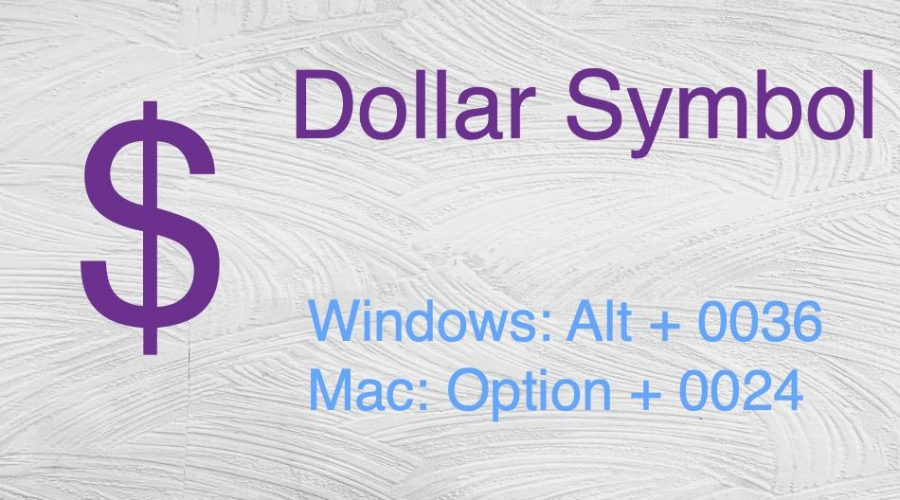 Keyboard Shortcuts for Dollar Symbol