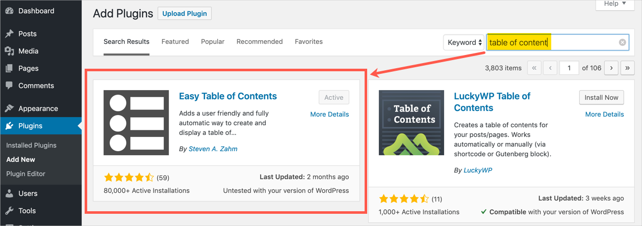 Install Easy Table of Contents Plugin