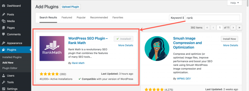 Install and Activate Rank Math SEO Plugin