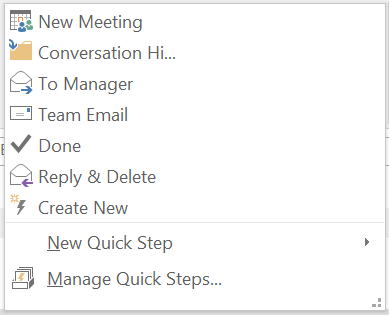 Predefined Quick Steps in Outlook 2016