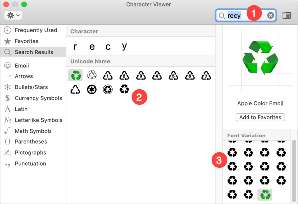 Recycling Symbols in Mac Character Viewer