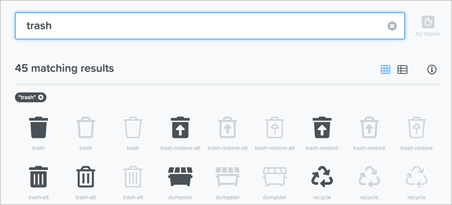 Recycling and Trash Font Icons
