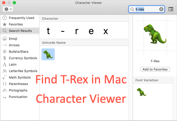 Search T-Rex in Character Viewer