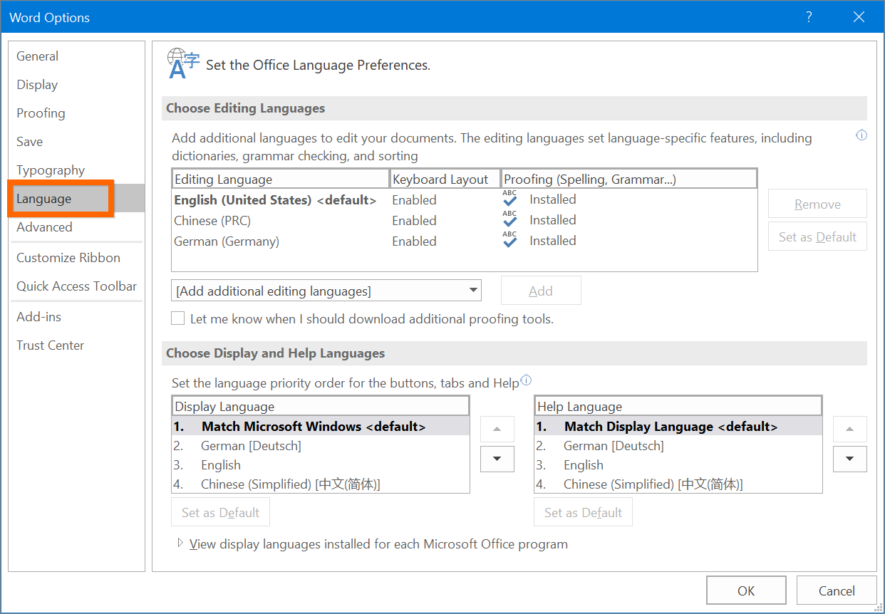 Set Language Preferences in Office