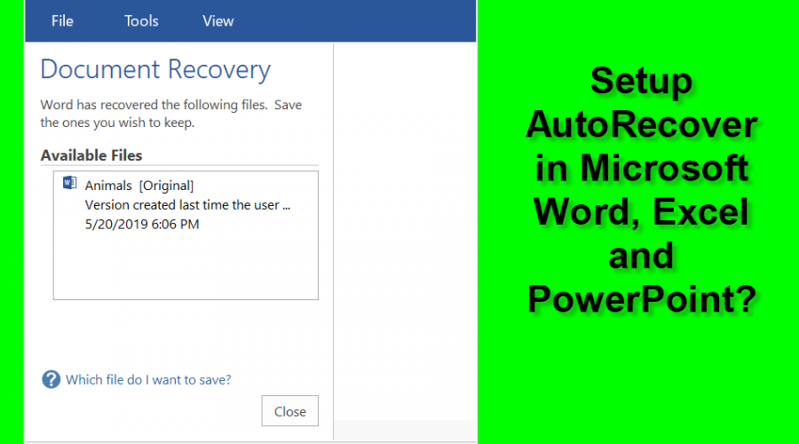 How to Setup AutoRecover in Microsoft Word?