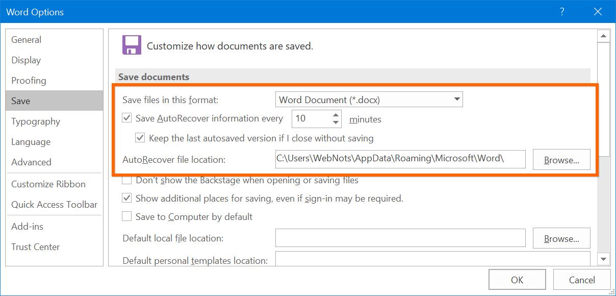 Setup AutoRecover in Microsoft Word