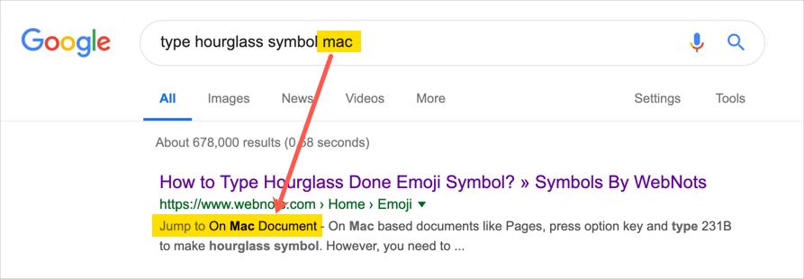 Ссылка на таблицу содержания в поиске Google