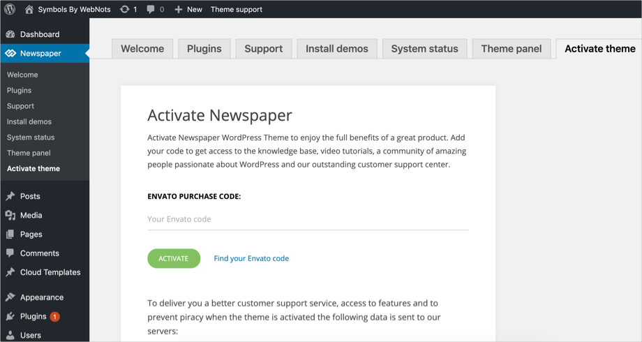Activate Newspaper Theme